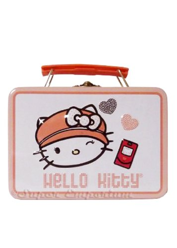 Sanrio Hello Kitty Embossed Lunch Tin Tote Box with Snap Lock - Hello Kitty Storage box