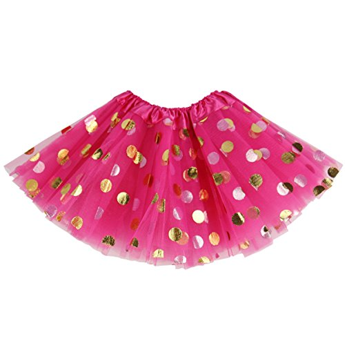 Jastore Baby Girls' Polka Dot Tutu Glitter Ballet Triple Layer Soft Tulle Dance Skirt (3-10 Years, Red) ()
