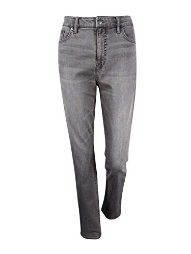 Co Stretch Denim Button Front (Lauren Jeans Co. Women's Straight Leg Jeans (8, Gray))