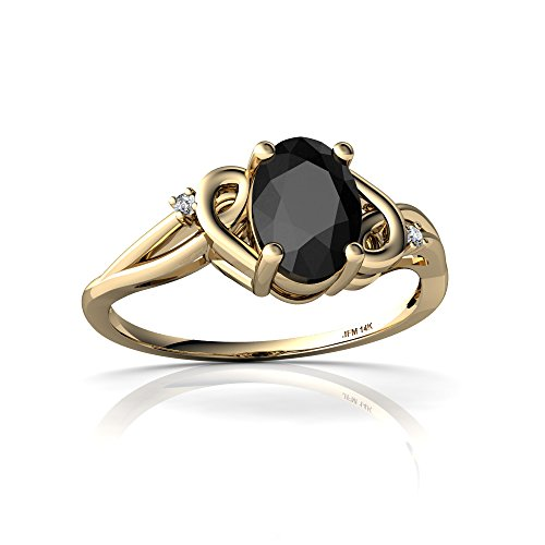 14kt Yellow Gold Black Onyx and Diamond 7x5mm Oval Swirls Ring - Size 8
