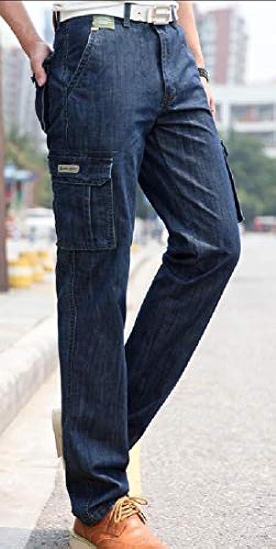H&E Męskie Jeans Cargo Big and Tall Classic Denim Multi Pockets: Odzież