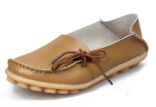 Anbover Mujeres Plus Size Driving Zapatos Mocasines Planos De Cuero Cómodos Cómodo Suela De Goma Slip On Zapatos Cómodo Suela De Goma Slip On Zapatos Khaki