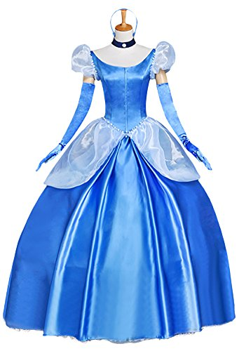 Halloween Deluxe Adult Women's Cinderella Princess Costume Full Set (M) (Adult Cinderella Dress)