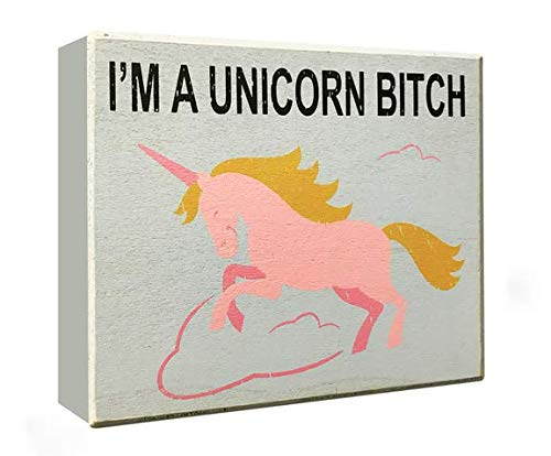 JennyGems - I'm A Unicorn - Funny Adult Room Decor, Unicorn Sayings and Quotes, Wall Art and Decor, Unicorn Plaque Decorations with Quote, Wood Sign, BFF Gift, Funny Signs, Unicornio, Unincornios ()
