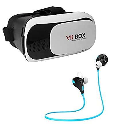 3515fa587d71 Indoraptor VR Headset 3D Glasses Virtual Reality All in One with Bluetooth  4.1 Wireless Sweatproof Jogger Headset  Amazon.in  Electronics