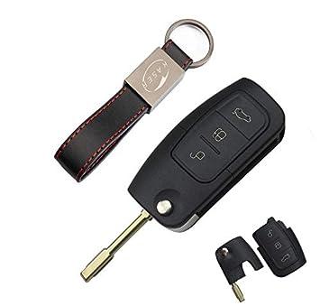 Carcasa Llave para Ford - Funda Mando a Distancia 3 Botones para Coche Ford Mondeo Fusion Focus Fiesta C-MAX Kuga (Key Blank)
