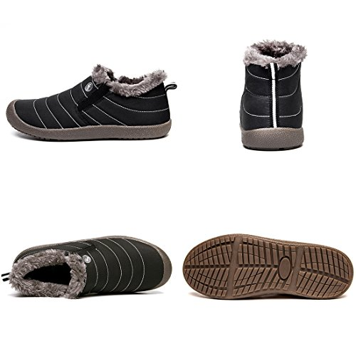 Women Men Black Boots XIDISO for Slip Ankle Shoes Slip Snow Boot Anti Waterproof Low Top On Winter Lightweight Booties awRnqIAgxn