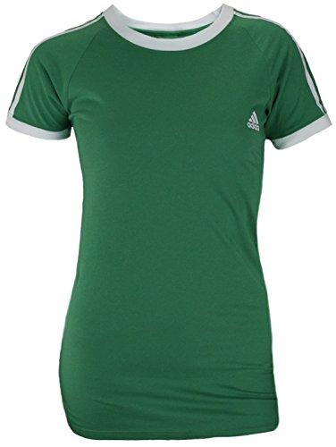 Adidas Women's Short Sleeve Striped Raglan Tee (Medium, Kelly Green)