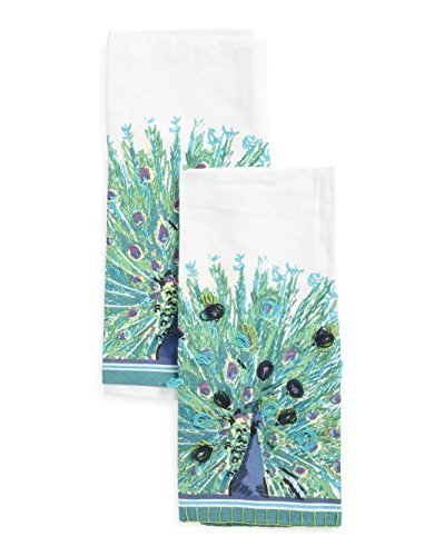 ENVOGUE Kitchen Towel Set - Peacock Decorative Kitchen Towels - Made in India - 18'' x 28'' - Set of 2
