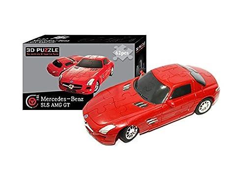 Amazon.com: 3d Super Car Puzzle, Mercedes Benz SLS Amg Gt 1:32 Model, 62  Pieces: Toys U0026 Games