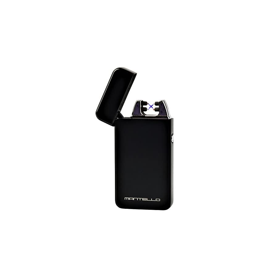 Mantello Tesla Coil Lighter USB Rechargeable Windproof Arc Lighter (Dual Arc, Black)