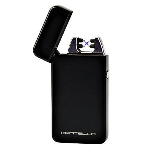 Mantello Electric Plasma Arc Lighter USB Rechargeable Windproof Dual Arc, Black