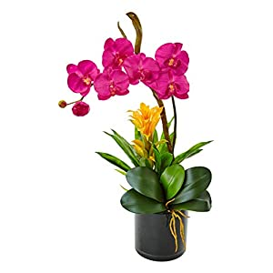 Artificial Flowers -Dark Pink Orchid and Bromeliad in Glossy Black Cylinder 29
