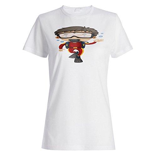 Taucher Sport Meer lustig Smiley Tauchen Damen T-shirt g839f