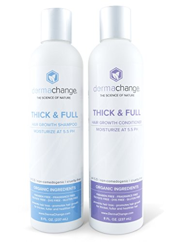 Organic Vegan Hair Growth Shampoo and Conditioner Set - Natural Sulfate Free - Hair Regrowth With Vitamins - Stop Hair Loss - Color Treated or Curly Hair - For Woman and Men - Made by USA