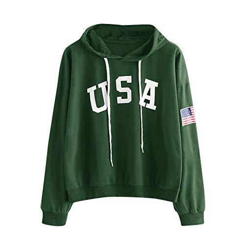 HIRIRI Women's American Flag Print Shirt Long Sleeve Drawstring Hoodies Casual Hooded Blouses Tops Green