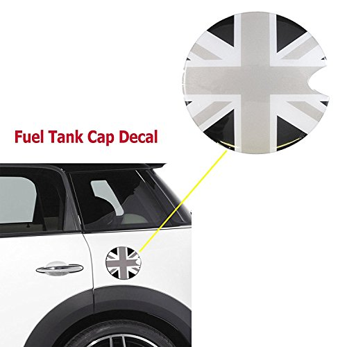 Ultra Thick Black Union Jack Flag Plastic Vinyl Sticker For Mini Cooper Gas Cap Cover