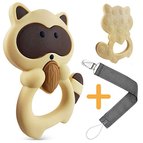 Numu Baby Teething Toys: 100% Silicone teether with Pacifier Clip/Holder for Infants & Toddlers, Best for Sore Gums Pain and Baby Teething Relief, BPA Free and Freezer Safe. Original Teether Raccoon