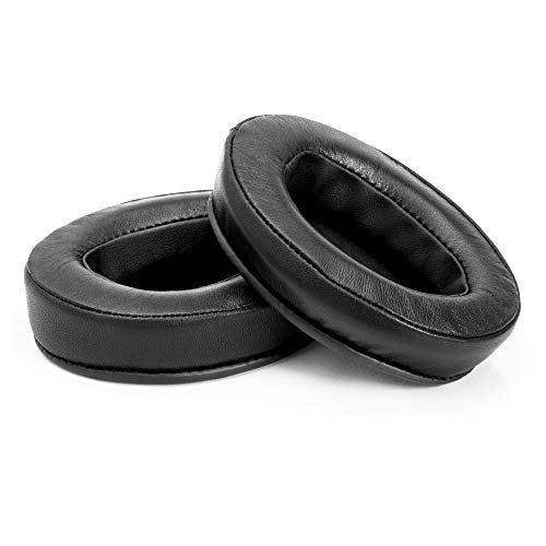 (Brainwavz Sheepskin Ear Pads for ATH M50X, M50XBT, M40X, HyperX, SHURE, Turtle Beach, AKG, ATH, Philips, JBL, Fostex Replacement Memory Foam Earpads & Fits Many Headphones (See List), Leather Oval)