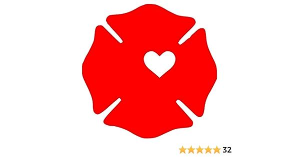 Details about  /Firefighter Cross Heart Vinyl Decal Die Cut Stick Maltese Badge Fireman Wife