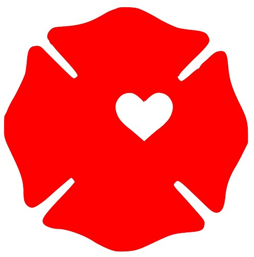 Minglewood Trading Fireman Wife Firefighter Maltese Cross Badge Heart Vinyl Decal Sticker 4