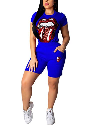 Succi Women's 2 Piece Outfits Tongue Out Glitter Sequined Short Sleeve Round Neck Pullover Top and Skinny Shorts Set Jumpsuit Romper Blue M