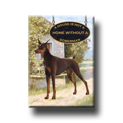 Doberman House Is Not A Home Fridge Magnet No 2 Red ()