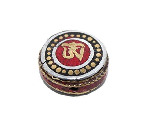Tibetan Brass Onyx - Handmade Nepalese Tibetan Coral Onyx Beads