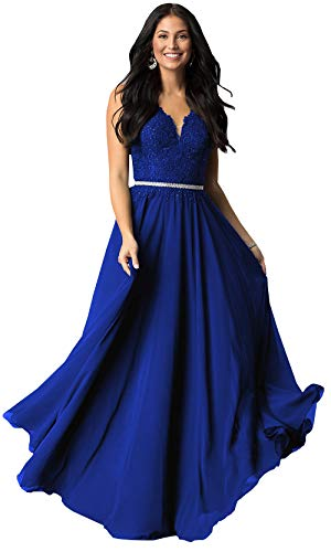 (V Neck Lace Bodice Chiffon Prom Dresses Long Maxi Formal Evening Party Gowns (Royal Blue,4))