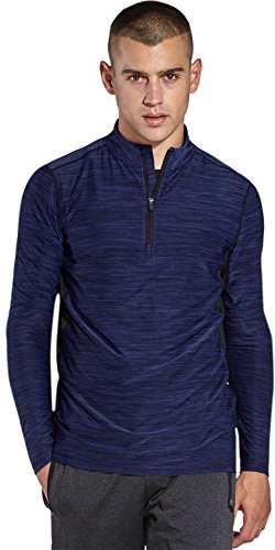 KomPrexx Mens 1/4 Zip Tops - QUICK DRY ACTIVEWEAR - Sports Training Workout Running Long Sleeve T-Shirts (Pullover Training Top)