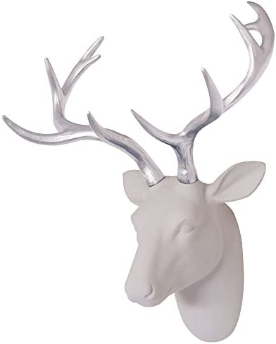 Animal Head Decor Wall Art Deer Sculpture White Flocking Resin Deer Head With Silver Antlers For Wall Decoration Size 15.5 x 10 x 7 By Smarten Arts