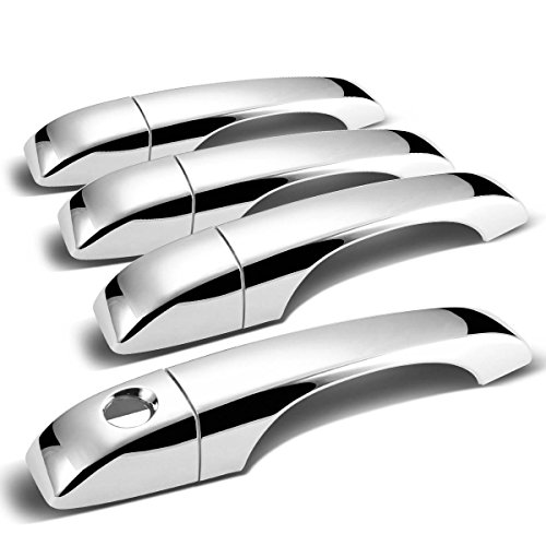 For Town & Country/Avenger/Grand Caravan/Compass 4pcs Exterior Door Handle Cover without Passenger Keyhole (Chrome)