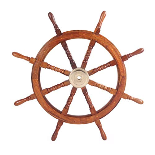 """TUP THE URBAN PORT 36"""" Teak Wood Ship Wheel with Brass Inset and Eight Spokes, Brown and Gold"""