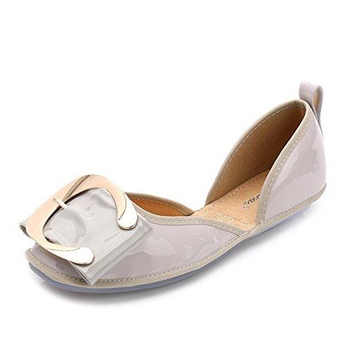 Damen Aalardom Ziehen Grau Schuhe Flache Auf 5 Quadratisch Zehe 38 Metallstück Mit pddwUqZ