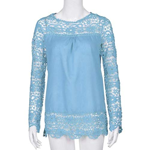 Women Plus Size Hollow Out Lace Splice Long Sleeve Shirt Casual Blouse Loose Top(sky blue,Small) by iQKA (Image #1)