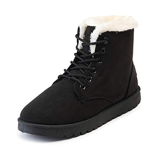 JOYBI Women Fashion Faux Suede Ankle Boots Round Toe Warm Lace Up Fur Lined Winter High Top Snow Boots