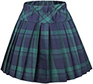 Urban CoCo Women's Elastic Waist Tartan Pleated School S