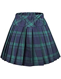 Women's Elastic Waist Tartan Pleated School Skirt