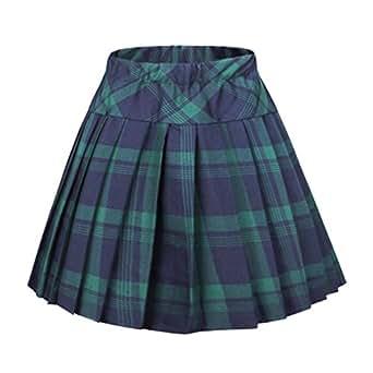 Urban CoCo Women's Elastic Waist Tartan Pleated School Skirt (Small, Series 1 Green)