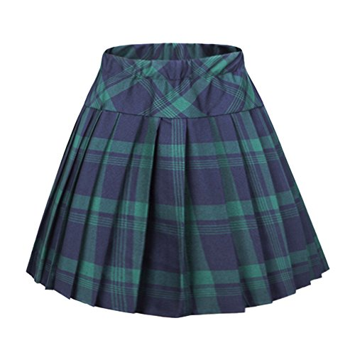 Urban CoCo Women's Elastic Waist Tartan Pleated School Skirt (Small, Series 1 Green) (School Korean Uniform)