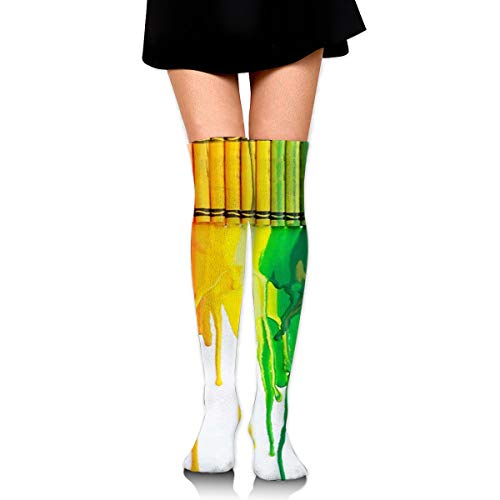 Over Knee High Tube Stockings Colorful Rainbow Crayon Painting Art Long Tube Socks Compresson Socks For Women And Girls