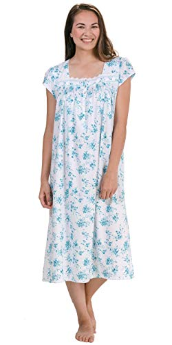 Eileen West Women's Cotton Jersey Ballet Nightgown White Ground/Teal Floral Large -
