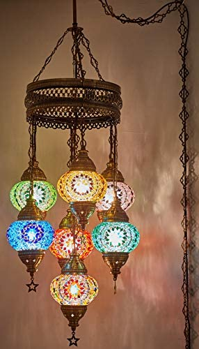 Choose from 35 Designs Turkish Moroccan Mosaic Glass Chandelier Lights Hanging Ceiling Lamp