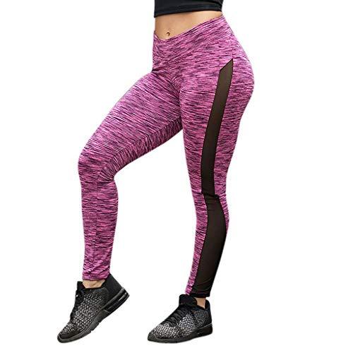 Women's Leggings Fudule Pants Women Yoga Pants Workout Running Sports Leggings Net Yarn Tummy Control Pants Gym Pants Pink