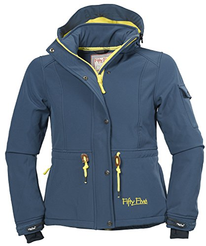 Softshell-Jacke   Funktions-Jacken für Damen von Fifty Five - Dacre midnight/yellow 42 - Outdoor-Bekleidung mit abtrennbarer Kapuze