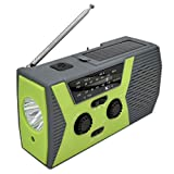 Jzenzero Emergency SOS Alarm Weather Radio Hand Crank Solar Power LED Flashlight Outdoor Tool Green