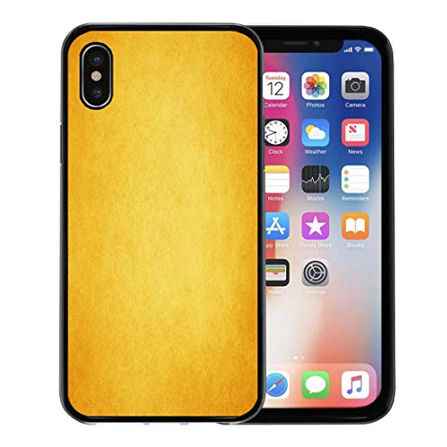 Semtomn Phone Case for Apple iPhone Xs case,Plain Abstract Gold Warm Yellow Color Tone Vintage Faint Sponge Border Fall Autumn Dark for iPhone X Case,Rubber Border Protective Case,Black (Borders Page Autumn)