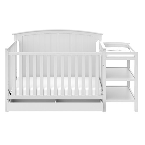 Storkcraft Steveston 4-in-1 Convertible Crib and Changer with Drawer, White - Storkcraft Convertible Crib