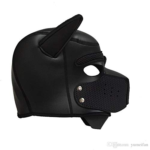 ZHS Quality Soft Padded Latex Rubber Puppy Play Dog Cosplay Full Head Mask with Ears Fetish Muzzle Hood Pet Role Play Gimp Costume 1pc by Zhonghaisun (Image #2)