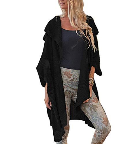 Casual Maglieria Giorno Irregular Maglie Monocromo Baggy Bavero Donna Schwarz Cardigan Grazioso Manica Autunno Outerwear Pullover Lunga HOcfW4W
